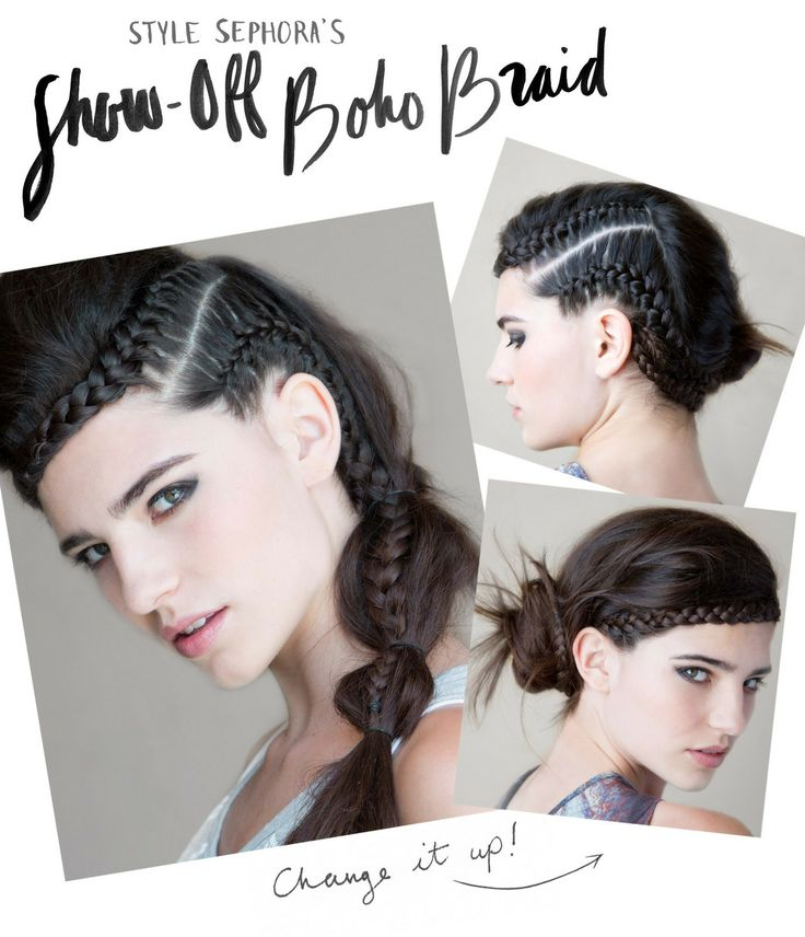 """""""This style is a different version of the headband braid that works best with longer, thicker hair,"""""""