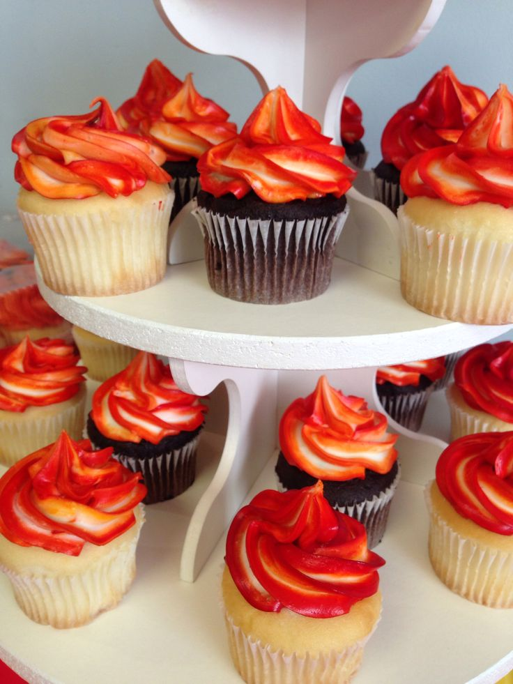 Red white yellow cupcakes fire fireman fire truck fire engine birthday
