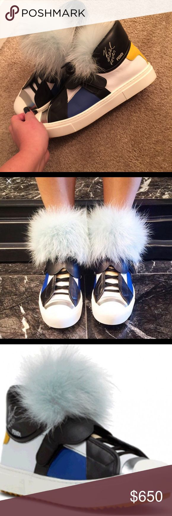 Fendi Karlito  fox fur sneakers Limited edition Fendi aqua fox fur leather sneakers! Super cute retails for $1800.00 at Saks and Nordstroms. Worn once. Excellent condition. Fendi Shoes Sneakers