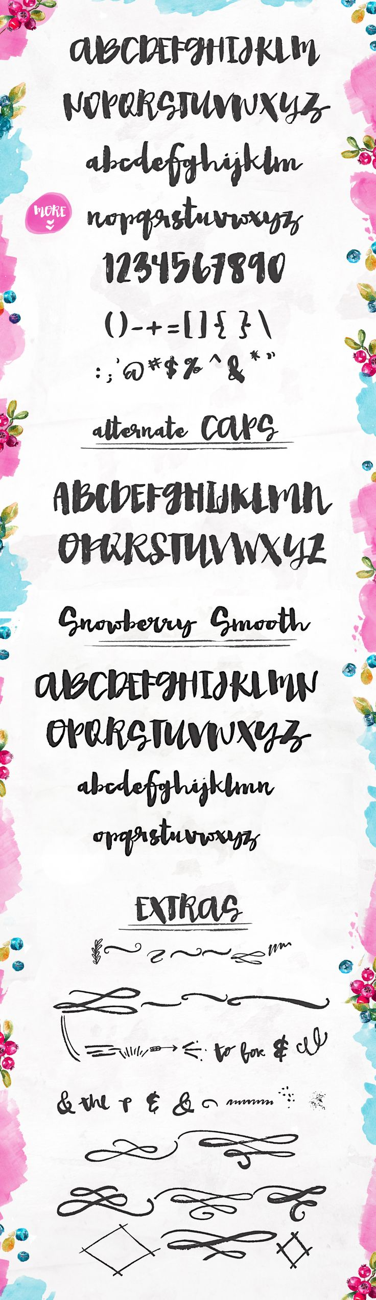 Snowberry - A Hand Painted Font by Angie Makes on @creativemarket