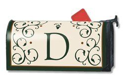 Grand Manor D Magnetic Mailbox Cover by Magnet Works. $14.25. This monogrammed mailbox cover has the letter scripted in a deep forest green color adding a touch of class to your mailbox. Imagine, one product you can change as often as you like, season after season to dress up your old boring mailbox. Well this is it!  Introducing Mailwraps® magnetic mailbox covers.  The concept is simple: Provide an inexpensive quality product made durable and long lasting to provide excepti...