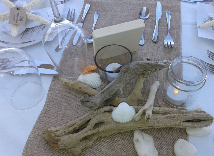 Local driftwood from the island used to create rustic beach inspired charm