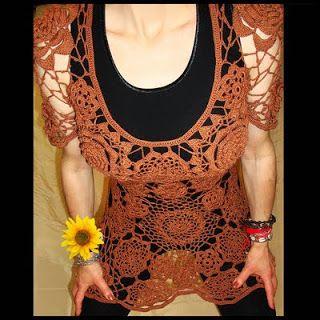 uncinetto moda e fantasia:  maglietta vestito in cotone, lavorazione ad uncin...