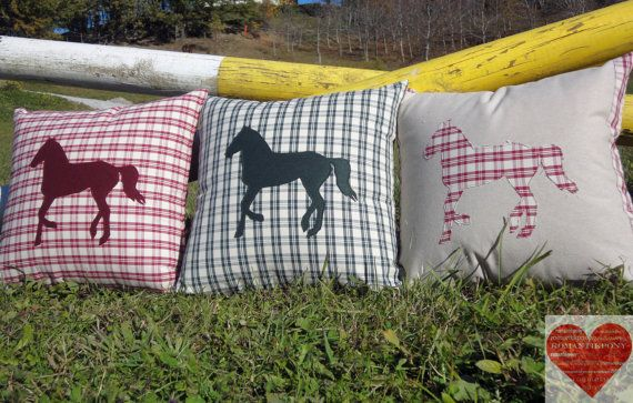 Pillows with horse appliqué;  This pillow is a great present for horse lovers, british style lovers and country friends! They look great placed at the ends of a sofa, sitting pretty individually in a pair of chairs,greeting guests on an entryway bench or anywhere else you can imagine! You can find it in my Etsy shop at  https://www.etsy.com/it/shop/RomantikPony?ref=hdr_shop_menu