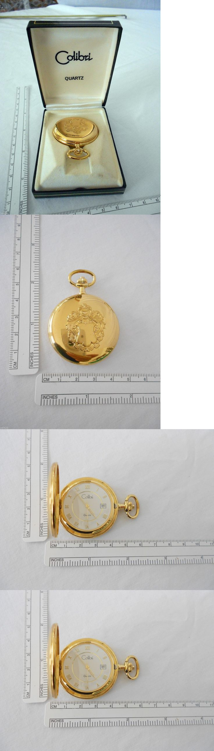 Other Pocket Watches 398: Colibri Pocket Watch Nib New Battery Gold Tone Hunter Case BUY IT NOW ONLY: $59.95