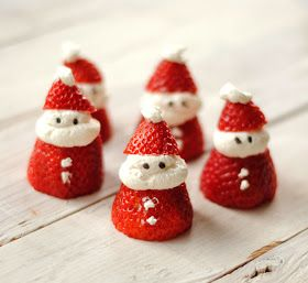 Christmas. Holiday snack. Santa snack. Strawberries. Quick snack. Cute snack.