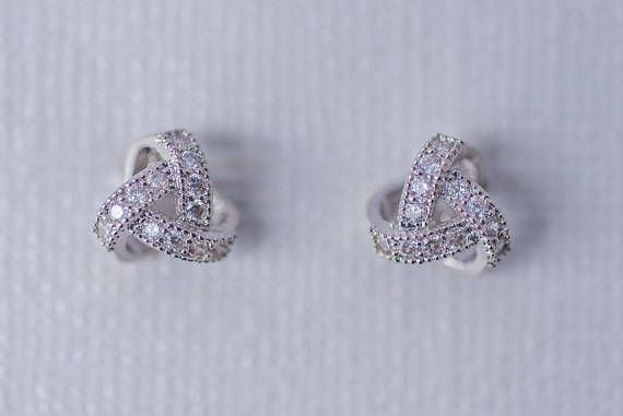 Pave Cubic Zirconia Knot Bridesmaids Earrings