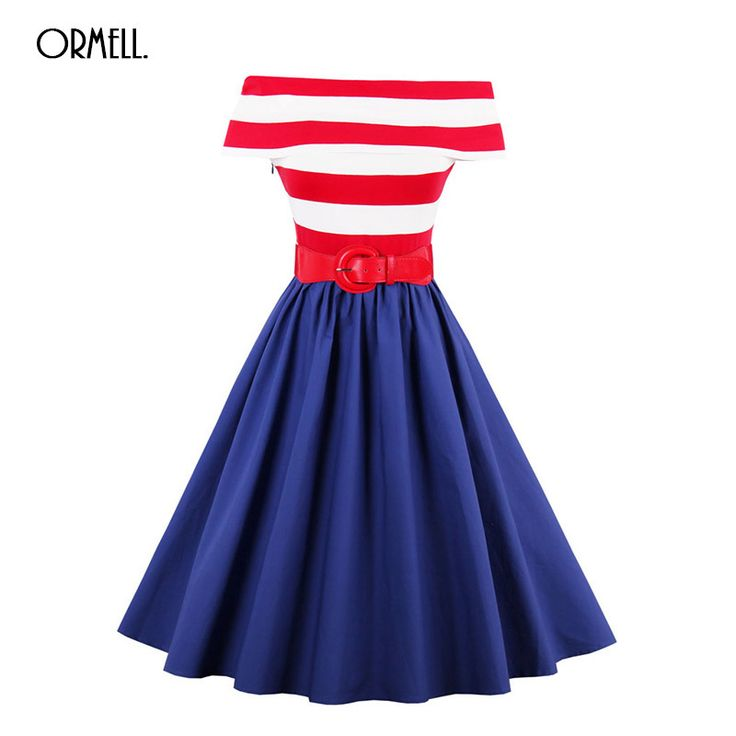 Women Elegant A-line Red Striped Party Dresses 2017 summer tops #summerstyle