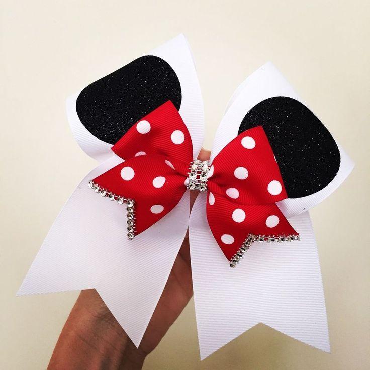 Minnie Ears White Cheer Bow With Red Polka Dot Mini Bow Rhinestone Trim Disney #Handmade