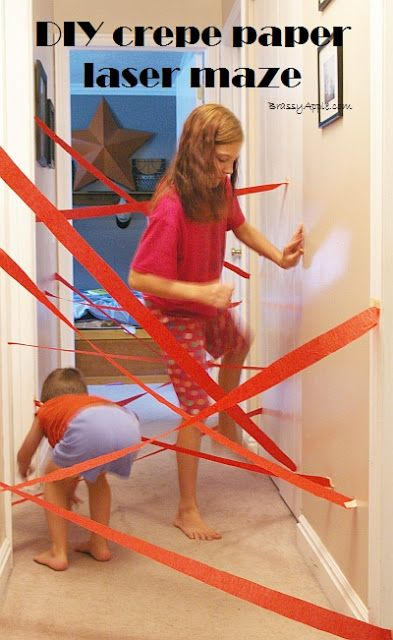 Spending a snow day with the kids? This DIY laser maze is a great way to keep them entertained indoors. All you need is some crepe paper, tape, and a pair of scissors. What an easy way to make an obstacle course!
