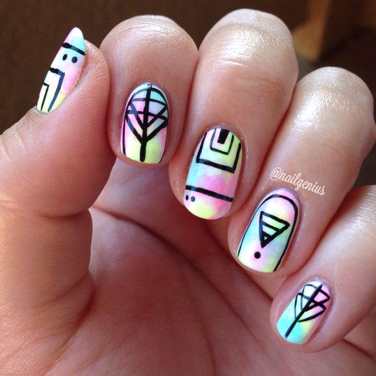 Tye-dye nails for music festivals. #nailart #coachella