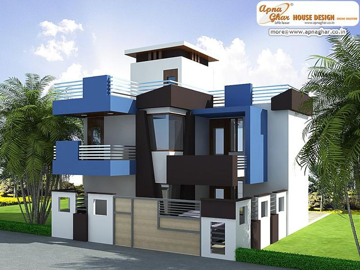 Modern Duplex House Exterior Elevation in 90m2 (10m X 09m)  Like, share, comment. click this link to view more details - http://www.apnaghar.co.in/search-results.aspx