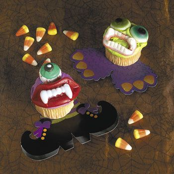 Halloween Cupcake Feet.   In witch's feet and monster feet designs, these cardboard decorations make it easy to cook up something creepy.