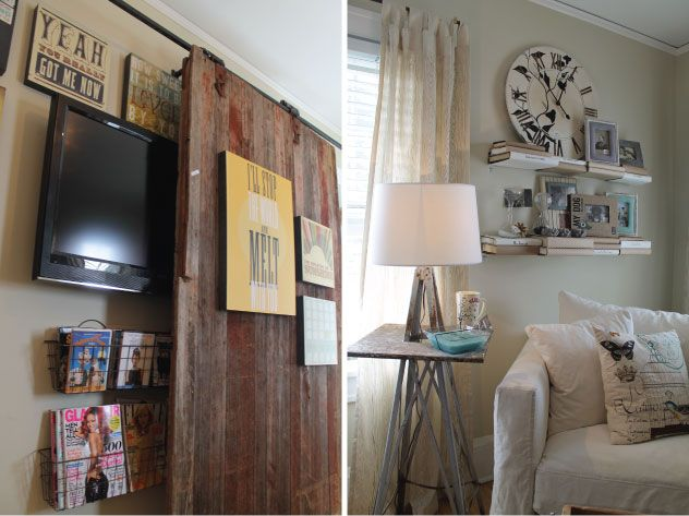 We r putting in a door like this. But I think i love the idea of it covering the tv.