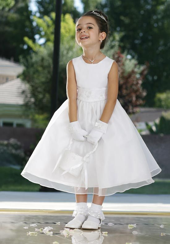Flower Girl Dress Style Satin And Organza Dress With Hand Beaded Satin Belt  - Beaded Dresses - Flower Girl Dress For Less