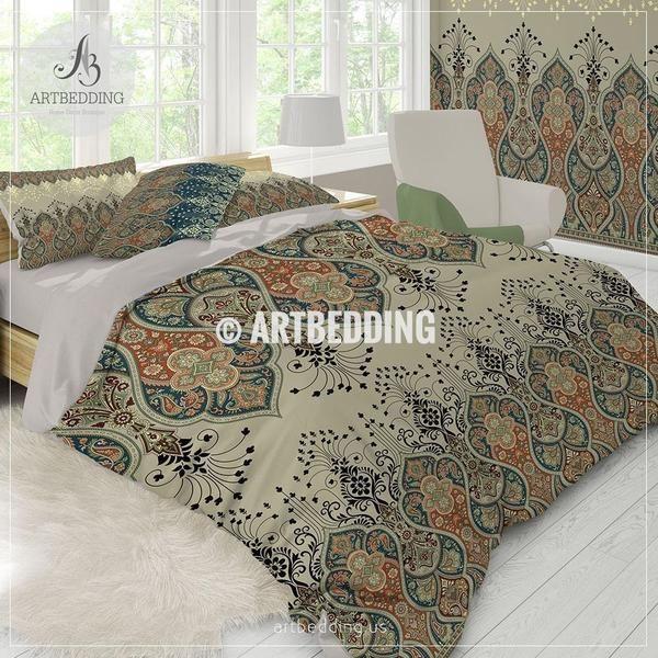 Ethno Indian bedding, Indie motifs tan duvet cover set, Traditional India boho paisley comforter set, bohemian bedroom decor