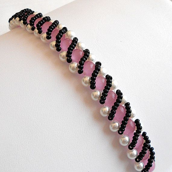 Beaded Bracelet  Pink Tiger's Eye and White by PeachtreeCottage