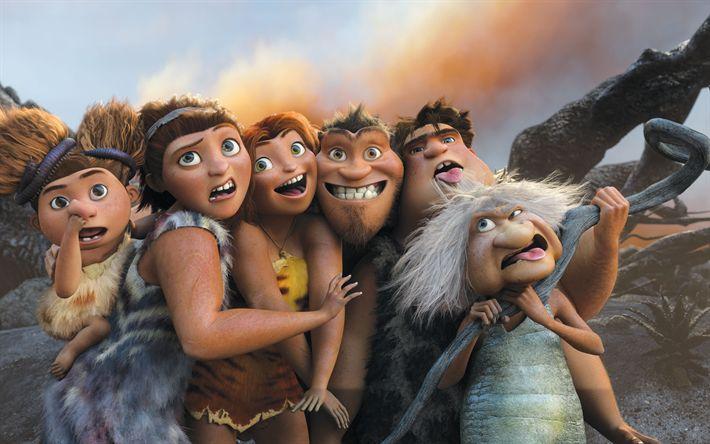 Descargar fondos de pantalla Los Croods 2, Eep, Grug, Gran, Arena, Ugga, familia, 2017 película, aventura, 4k, 3D-animación