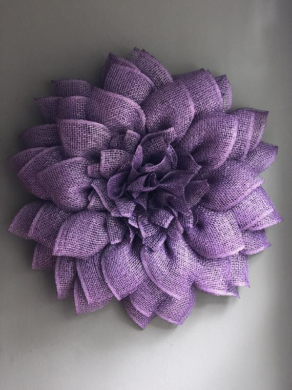 Flower Wreath Sunflower Wreath Sunflower Decor Summer Decor Poly Burlap Wreath Purple Poly Burlap Wreath Purple Flower Wreath