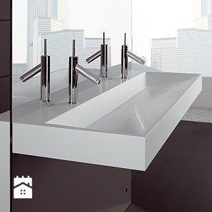Luxum nowoczesna umywalka podwójna , koryto z odpływem liniowym, dowolny rozmiar