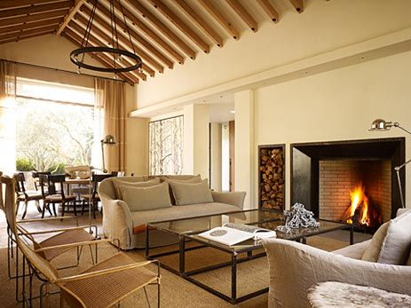 Exposed beams, fire-wood stacking, lamp love...