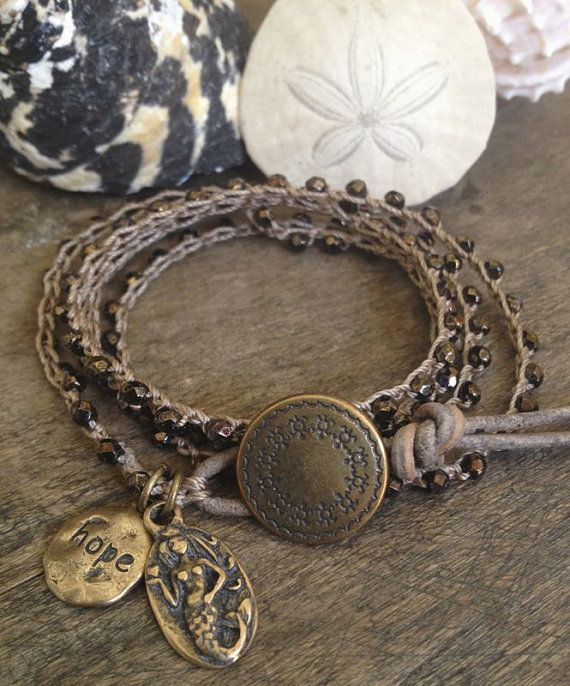 Mermaid Knotted Crochet Bracelet Multi Wrap, Rustic Bronze 5x Beaded Jewelry by Two Silver Sisters