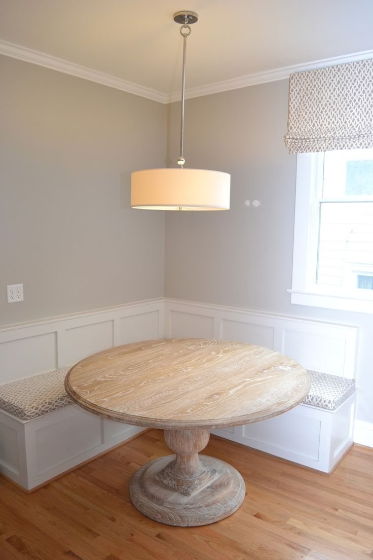 Liking The Banquet And Round Table Idea. Eat In Kitchen Seating With Round  Wood Table :: Lucy Williams Design