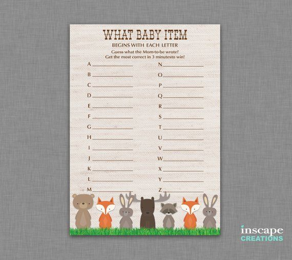 Woodland Animals What Baby Items Begin With This Letter Game Printable Woodland Baby Shower Game Guess The Baby Items Game Baby Abc Game Celebrity Babies Baby Name Game Celebrity Baby Names