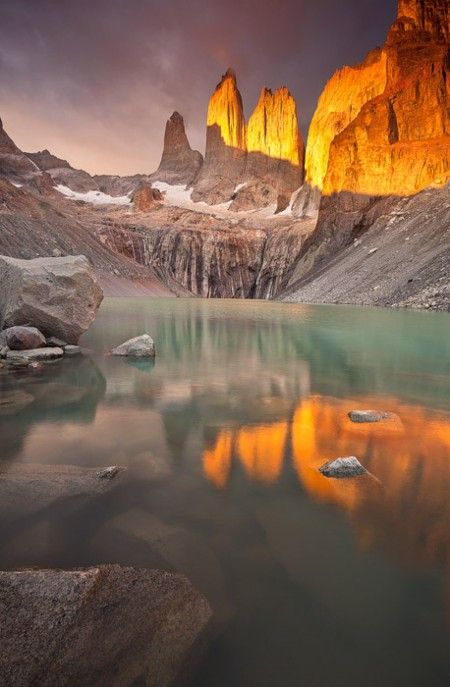 Torres del PAine at sunrise by Grant Ordelheide ~~ Torres del Paine National Park, Patagonia, Chile.