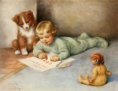 """""""Drawing and Spelling with Friends a Puppy and Doll"""" (1949), by American artist - Bessie Pease Gutmann (1876-1960)"""