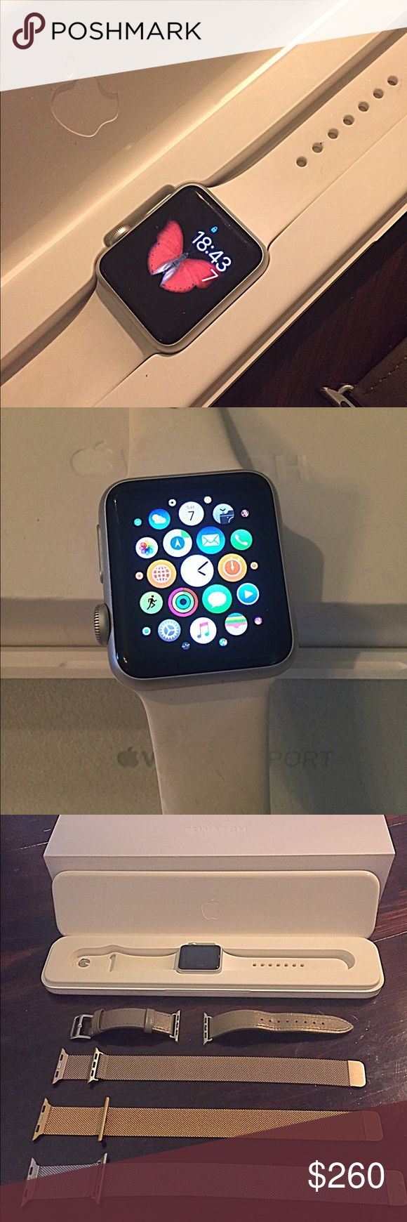 Apple 7000 series 38mm Smart Watch iWatch 7000 series silver aluminum case with white sports band. Gorgeous anodized aluminum case, Ion-X Glass, Retina display with force touch. Composite back, splash and water resistant (not waterproof). Heart rate sensor, accelerometer and gyroscope. Ambient light sensor. Comes with over $150 worth of interchangeable watch bands to include a taupe leather band, a silver mesh, gold mesh, and light gold mesh with magnetic closures. Price is firm on this…