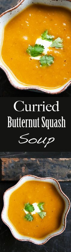 Curried butternut squash soup! With onion and lightly spiced with curry spices. So wonderfully warm on a chilly day! On SimplyRecipes.com