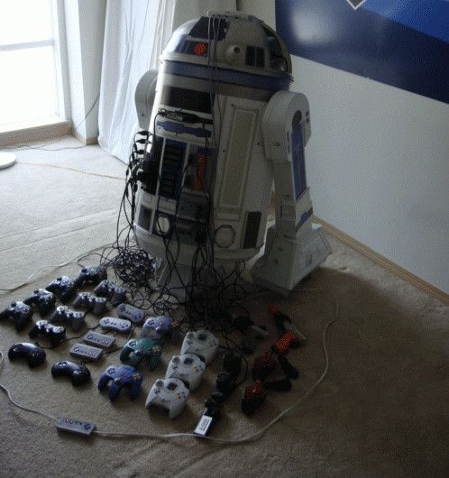 This is Eight consoles and a projector. (Thanks Danny!)