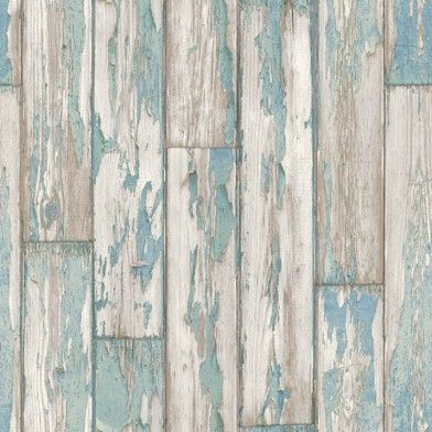 Peeling Planks (W0050/03) - Clarke & Clarke Wallpapers - A natural wood paneling in a photo finish effect. Showing in mineral blue colouring - more colours are available. Please request a sample for true colour match. Paste-the-wall product.