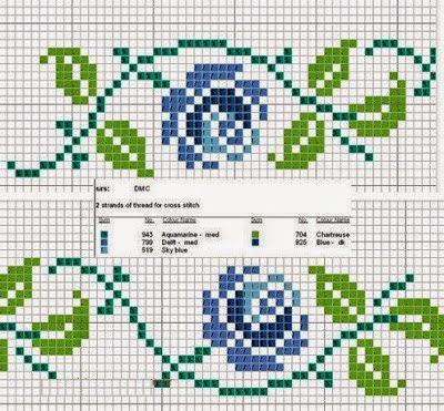 Punto croce - Schemi e Ricami gratuiti: Raccolta di bordi a tema rose