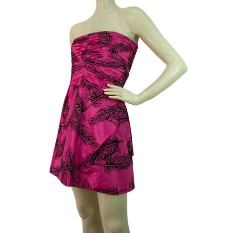 Auth Juicy Couture Mini Fuchsia Black Feathers Silk Strapless Dress Size 4