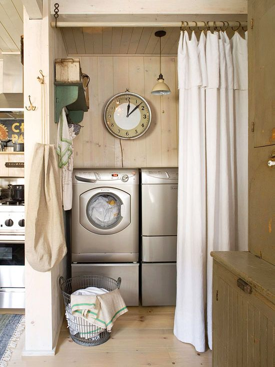 If your laundry room is in the open, install a rod and curtain to hide the area when necessary: http://www.bhg.com/rooms/laundry-room/makeovers/hidden-laundry-rooms/?socsrc=bhgpin030614curtaincall&page=8