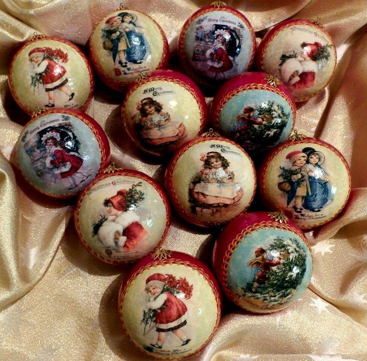 Decoupage - vianočné gule