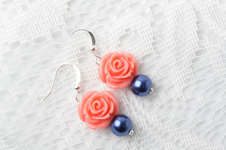 coral and navy rose earrings, Bridesmaid earrings, coral Navy wedding jewelry, Navy pearl earrings, Coral wedding, bridal party gift by BijouxKarmaJewelry on Etsy
