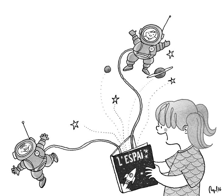 """Space"", illustration for a schoolbook. Summer 2016."