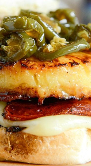Bacon Pineapple Burgers with Candied Jalepenos and Sweet Chili Mayo