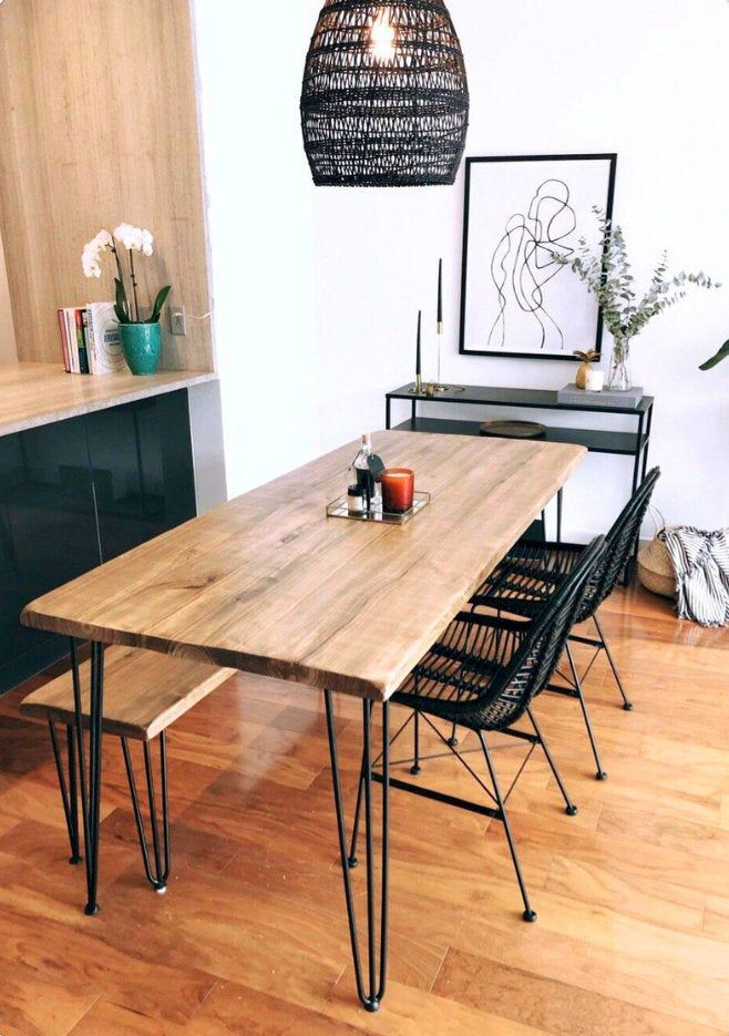 Reclaimed Wood Metal Dining Table In 2020 Metal Dining Table