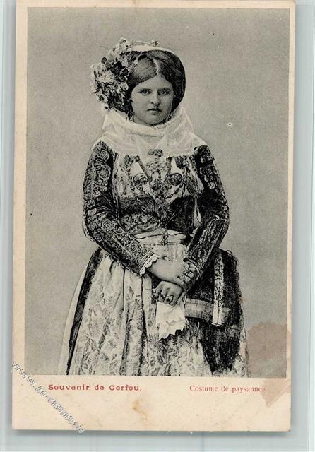 Frau aus Korfu - schöne Tracht ca 1905 AK Gute Erhaltung