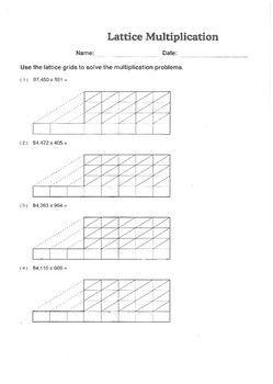 lattice multiplication worksheet   x  digits  math resources  lattice multiplication multiplication worksheets fun math math games  sixth grade math