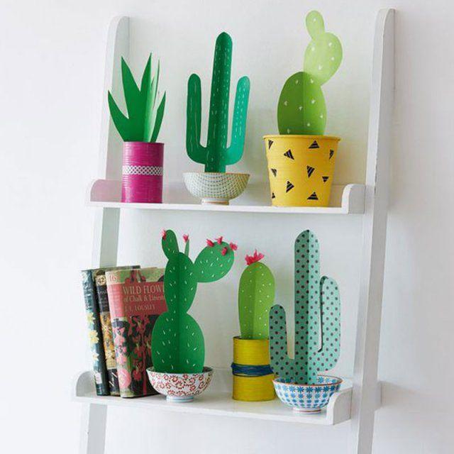 Une étagère de cactus en papier : Réaliser des plantes en papier / Paper plants DIY