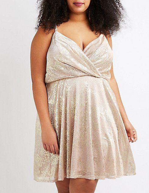 Charlotte Russe Plus Size Metallic Surplice Skater Dress ...