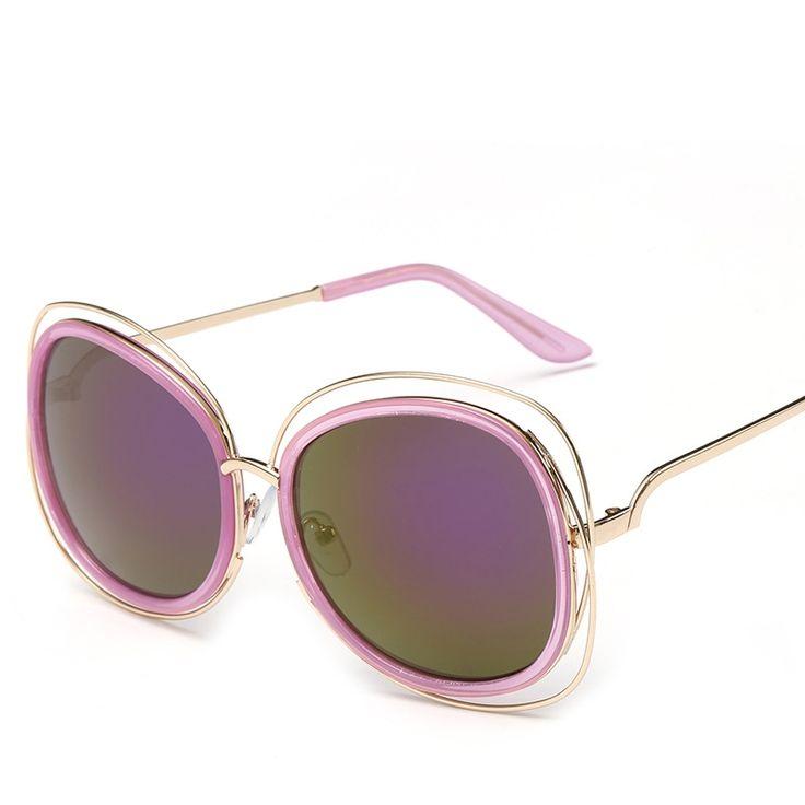 Ladies Polarized Lunettes de Soleil Fashion Colorful Sunglasses Retro Lunettes de Soleil , Boîte en or Film Violet