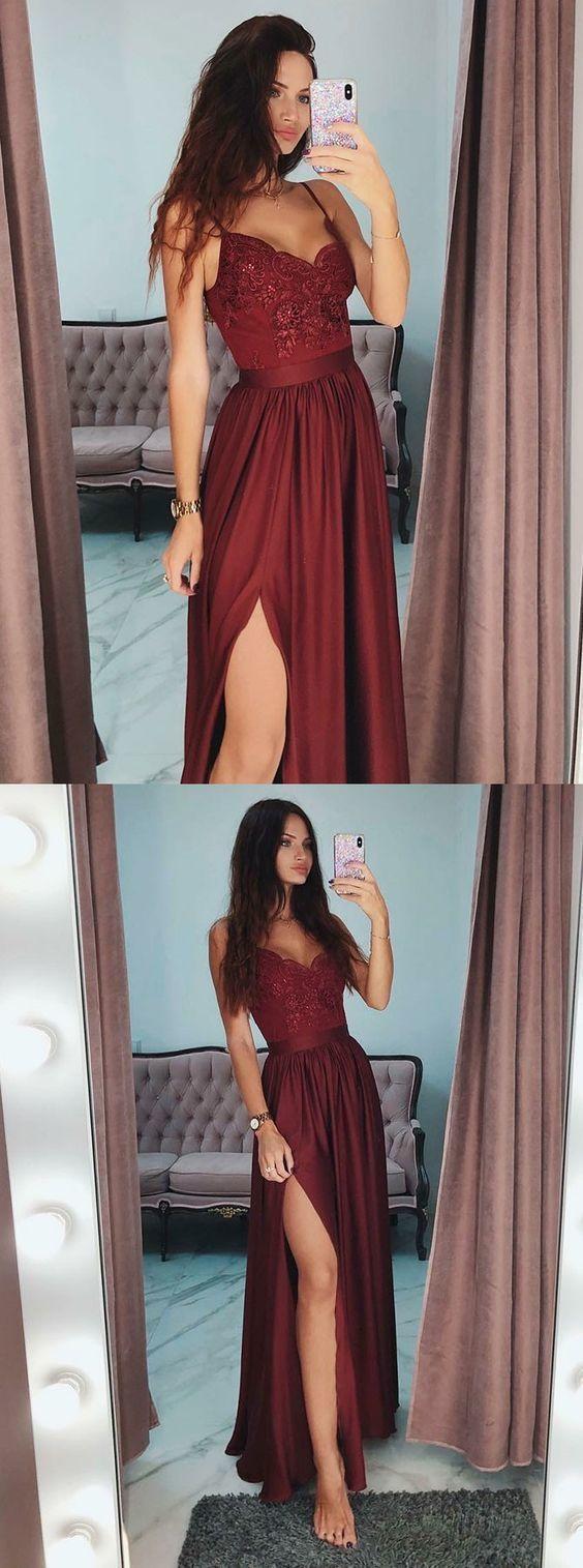 A-line Appliqued Long Prom Dress with Slit Fashion Winter Formal Dress LP297