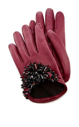 Bordeaux Paillette Embroidered Gloves by OSCAR DE LA RENTA for Preorder on Moda Operandi
