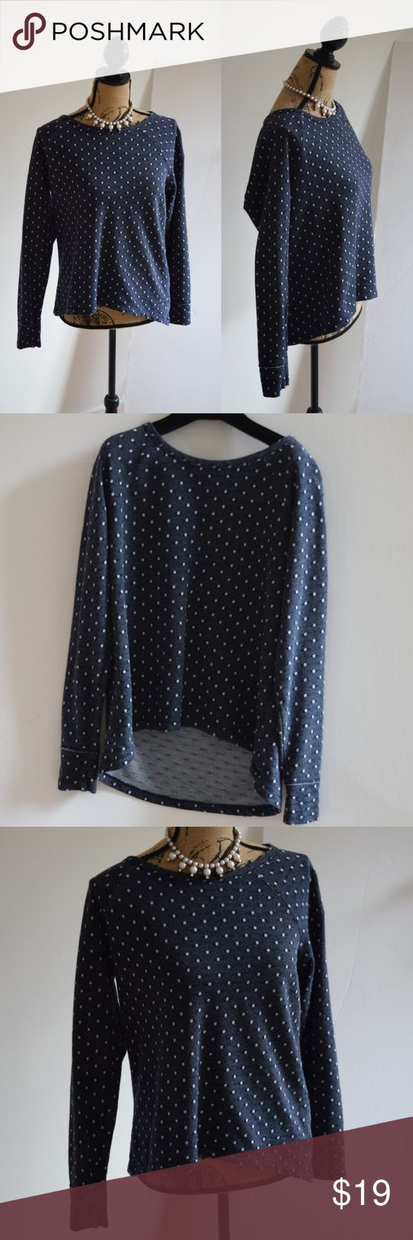 Gap Polka Dot Sweatershirt Beautiful navy blue and white polka dot pullover by Gap. Excellent condition. Size Medium. 50% cotton, 50% polyester. GAP Tops Sweatshirts & Hoodies